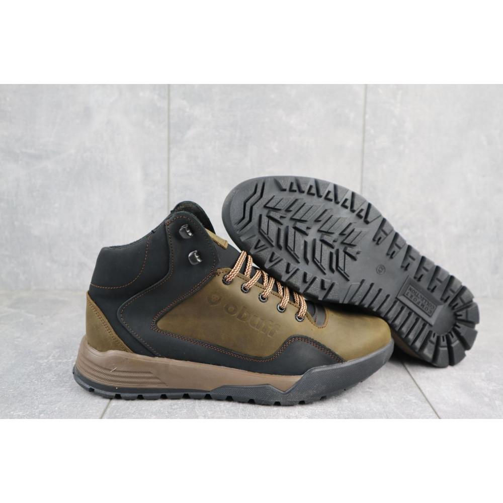 Зимние кроссовки мужские - Мужские кроссовки кожаные зимние оливковые-черные CrosSAV 318 5