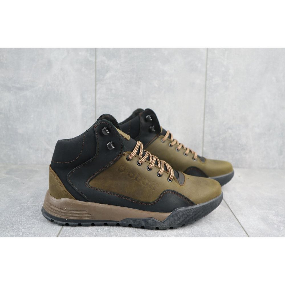 Зимние кроссовки мужские - Мужские кроссовки кожаные зимние оливковые-черные CrosSAV 318 2