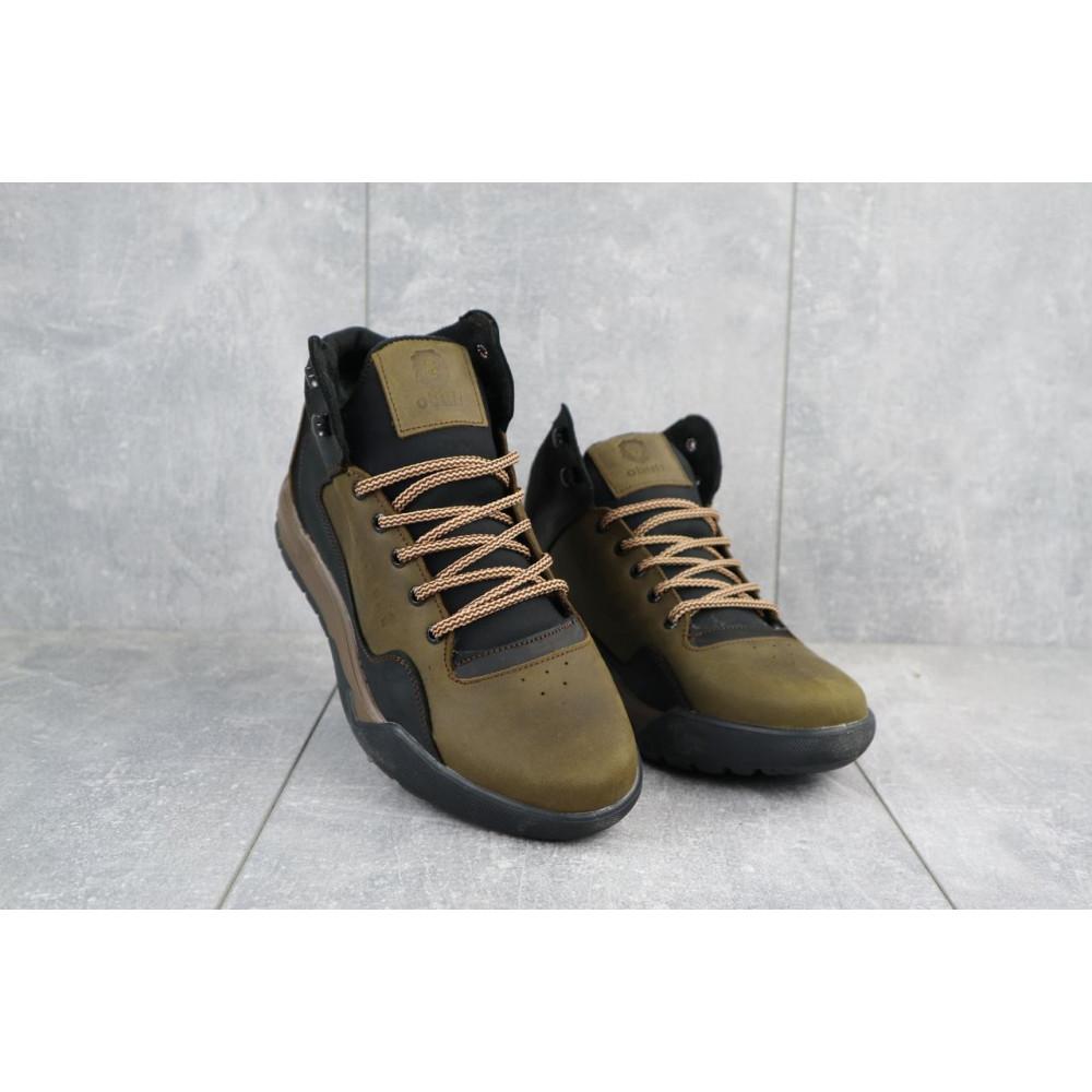 Зимние кроссовки мужские - Мужские кроссовки кожаные зимние оливковые-черные CrosSAV 318