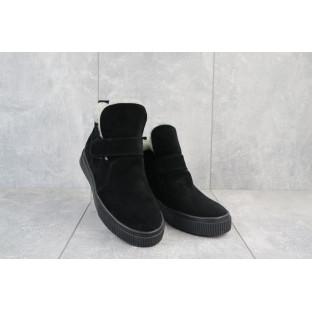 Женские ботинки замшевые зимние черные Mkrafvt 2246