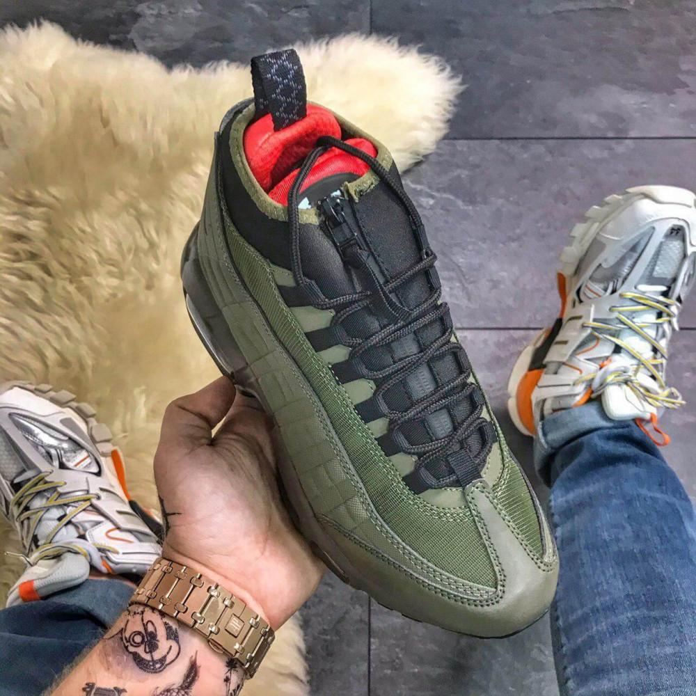 Зимние кроссовки мужские - Мужские термо кроссовки Nike Air Max 95 Sneakerboot Olive Red Cargo Khaki 3