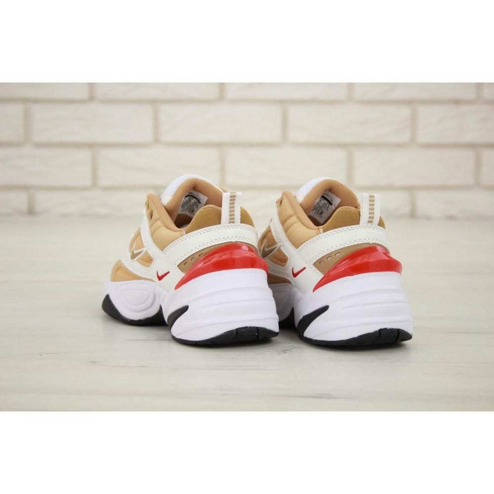 Женские кроссовки классические  - Женские кроссовки Nike M2K Tekno белые с красной пяткой 4