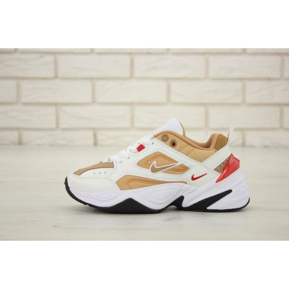Женские кроссовки классические  - Женские кроссовки Nike M2K Tekno белые с красной пяткой 1