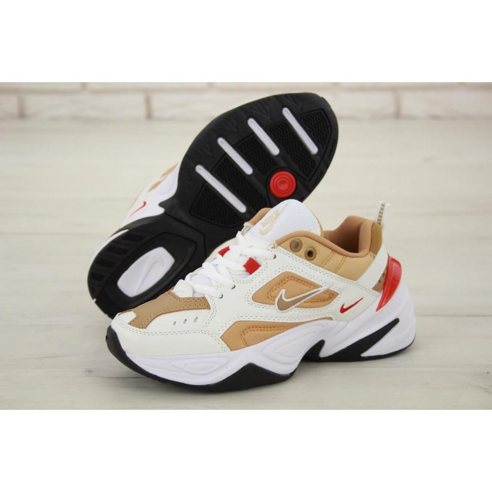 Женские кроссовки классические  - Женские кроссовки Nike M2K Tekno белые с красной пяткой 2