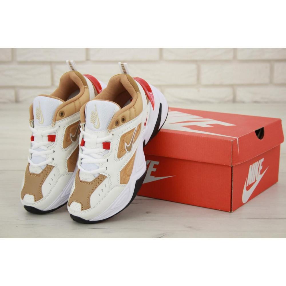 Женские кроссовки классические  - Женские кроссовки Nike M2K Tekno белые с красной пяткой
