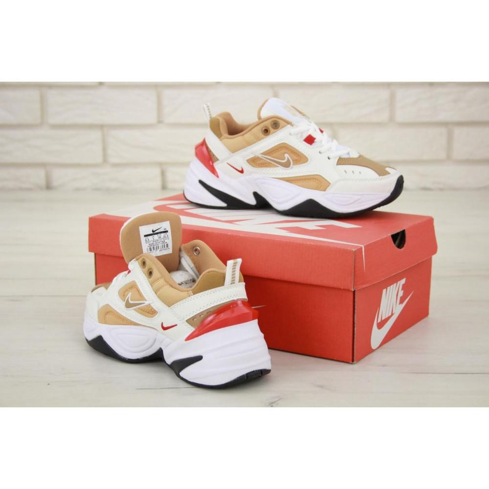 Женские кроссовки классические  - Женские кроссовки Nike M2K Tekno белые с красной пяткой 5