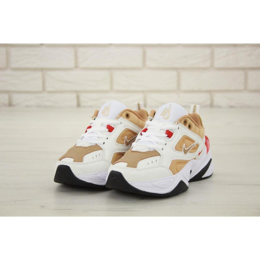 Женские кроссовки классические  - Женские кроссовки Nike M2K Tekno белые с красной пяткой 3