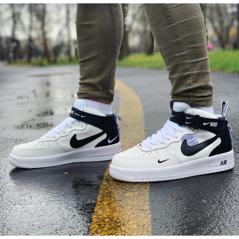 Демисезонные кроссовки мужские   - Кроссовки высокие натуральная кожа Nike Air Force Найк Аир Форс (41,42,43,44,45)