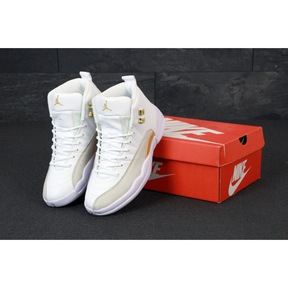 Демисезонные кроссовки мужские   - Баскетбольные кроссовки Nike Air Jordan Retro 12 в белом цвете
