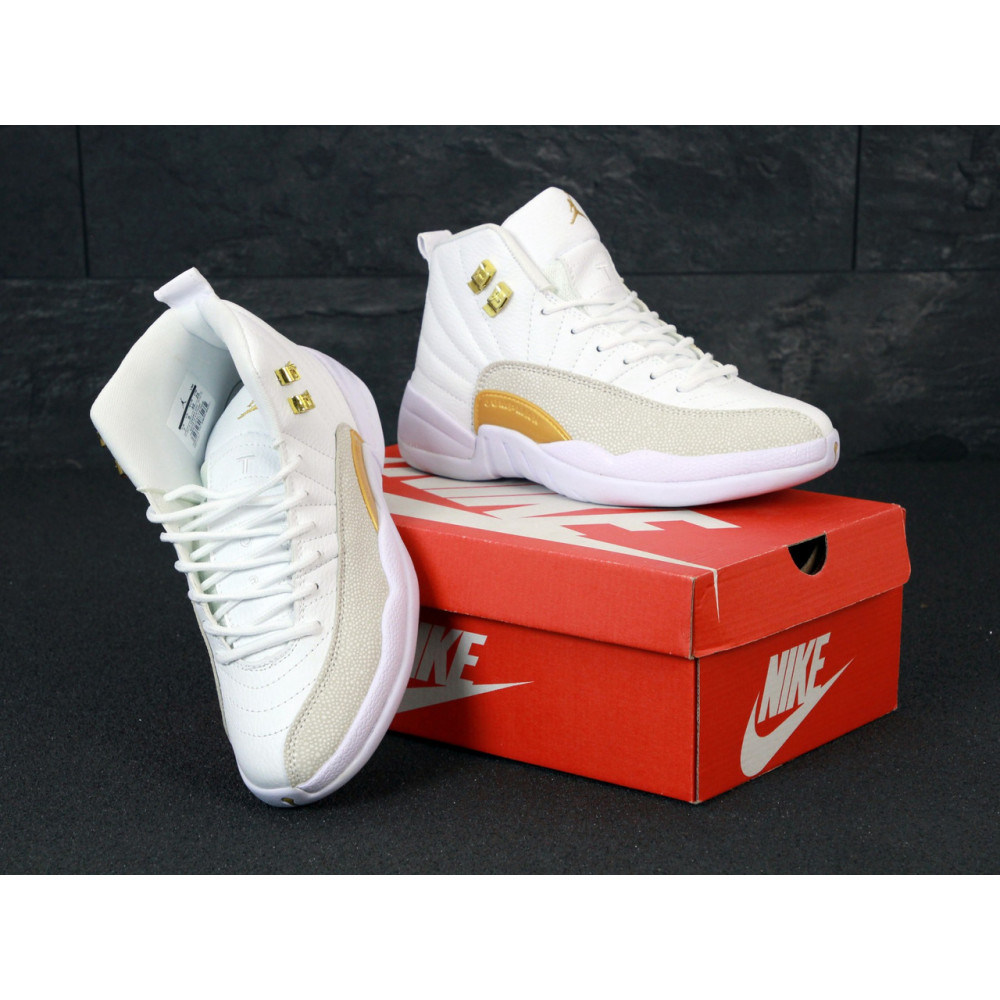 Демисезонные кроссовки мужские   - Баскетбольные кроссовки Nike Air Jordan Retro 12 в белом цвете 4