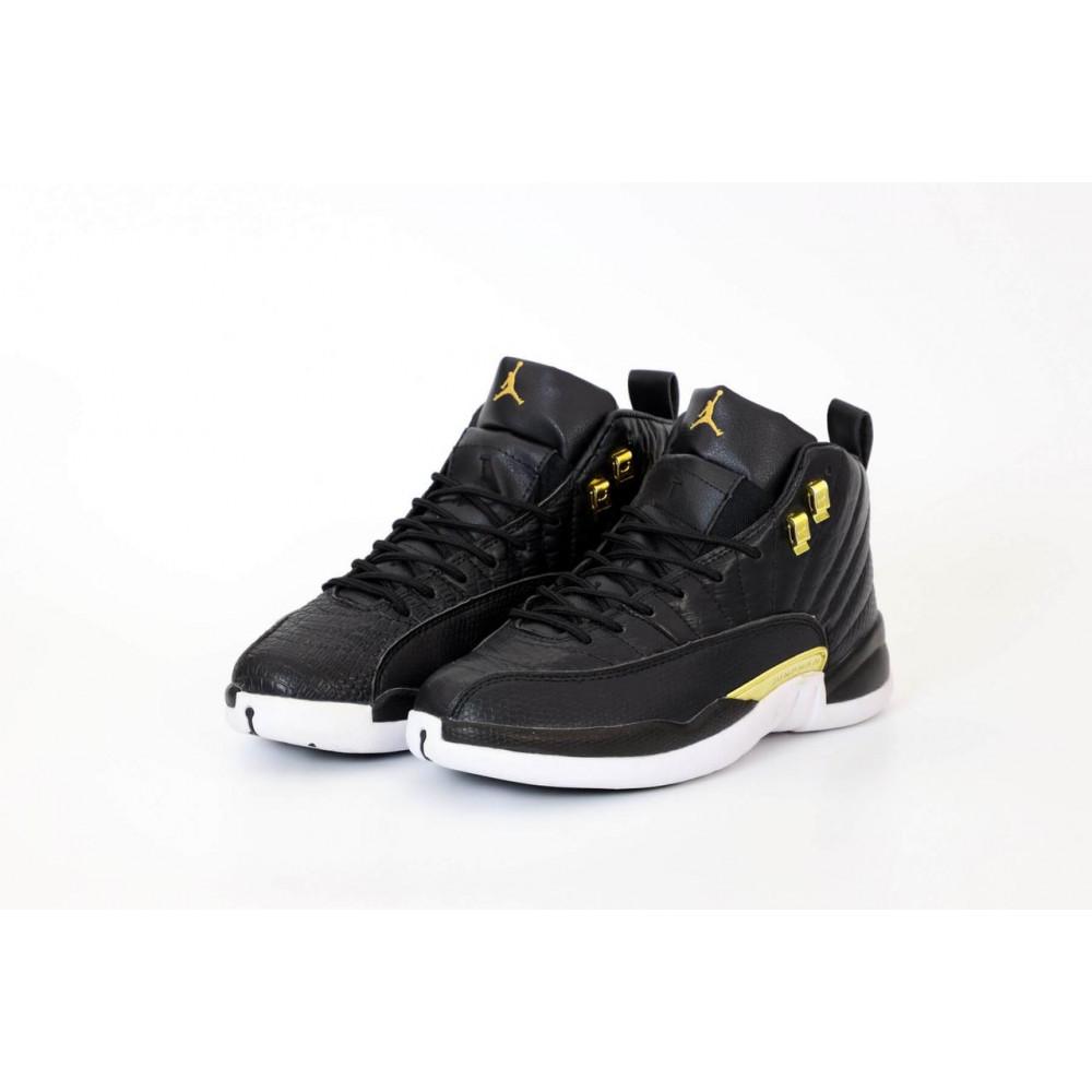 Демисезонные кроссовки мужские   - Найк Джордан Ретро 12 черного цвета 3