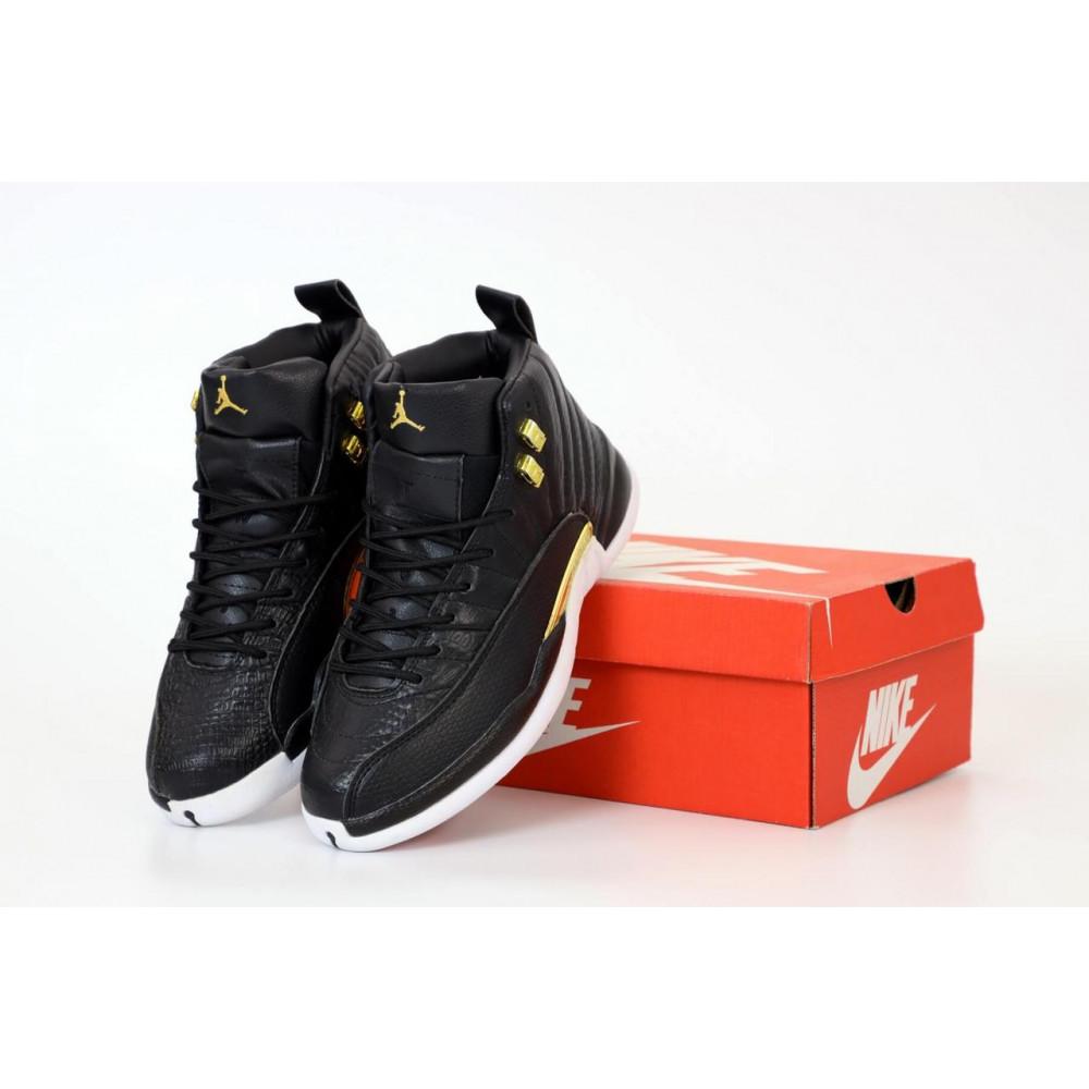 Демисезонные кроссовки мужские   - Найк Джордан Ретро 12 черного цвета