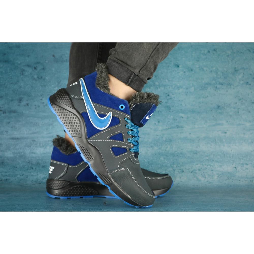 Зимние кроссовки мужские - Мужские кроссовки кожаные зимние синие-голубые CrosSAV 46 3