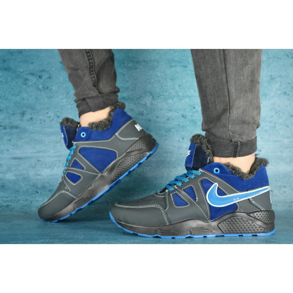 Зимние кроссовки мужские - Мужские кроссовки кожаные зимние синие-голубые CrosSAV 46