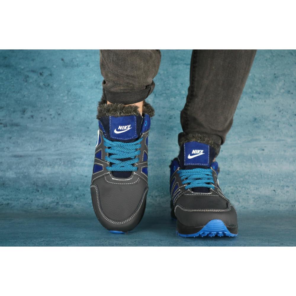 Зимние кроссовки мужские - Мужские кроссовки кожаные зимние синие-голубые CrosSAV 46 1