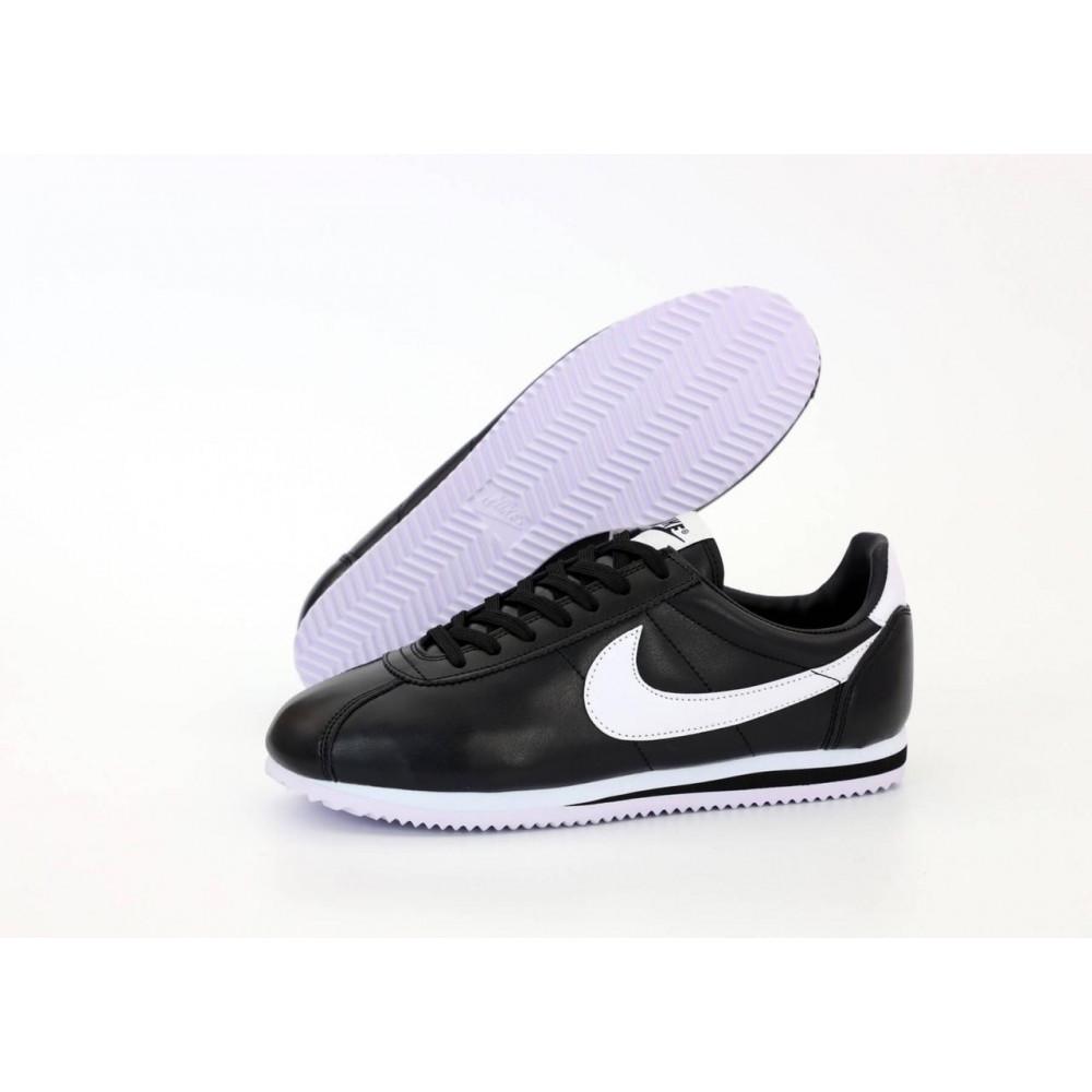Классические кроссовки мужские - Мужские черные кожаные кроссовки Найк Кортез 2