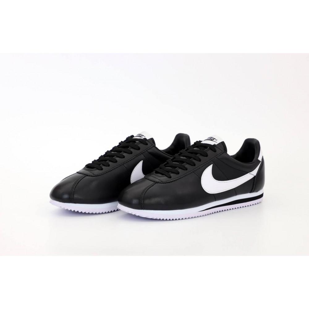 Классические кроссовки мужские - Мужские черные кожаные кроссовки Найк Кортез 4