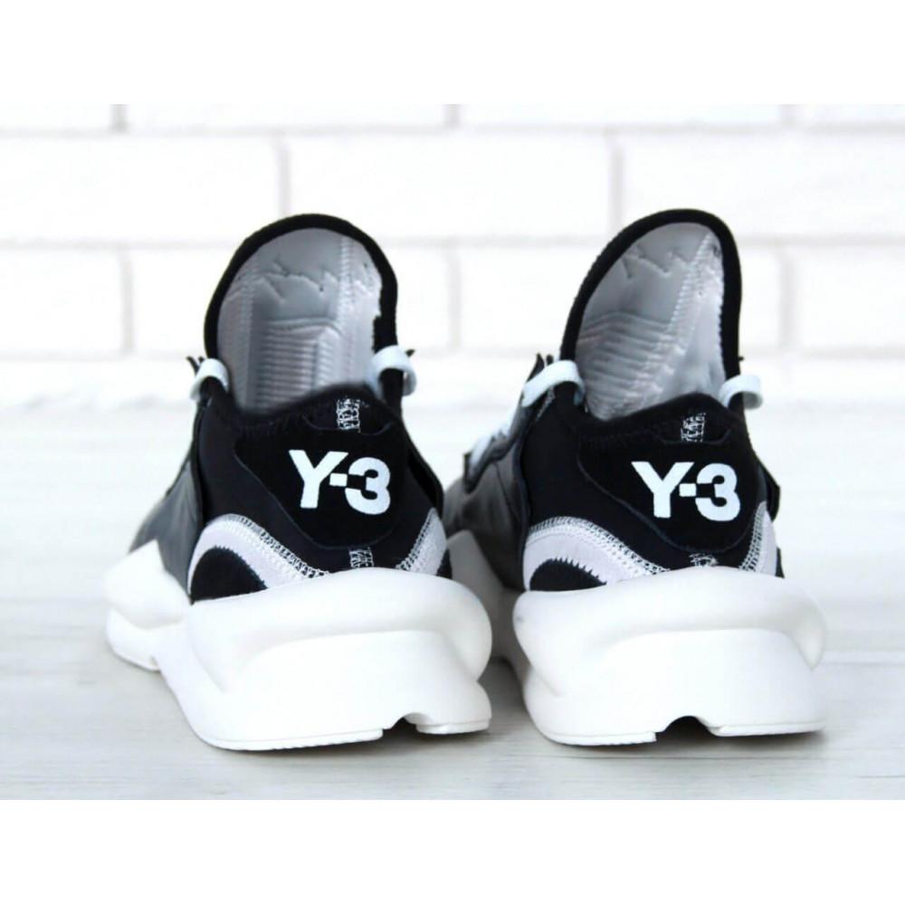 Демисезонные кроссовки мужские   - Кроссовки Adidas Y-3 Kaiwa черно-белые 1