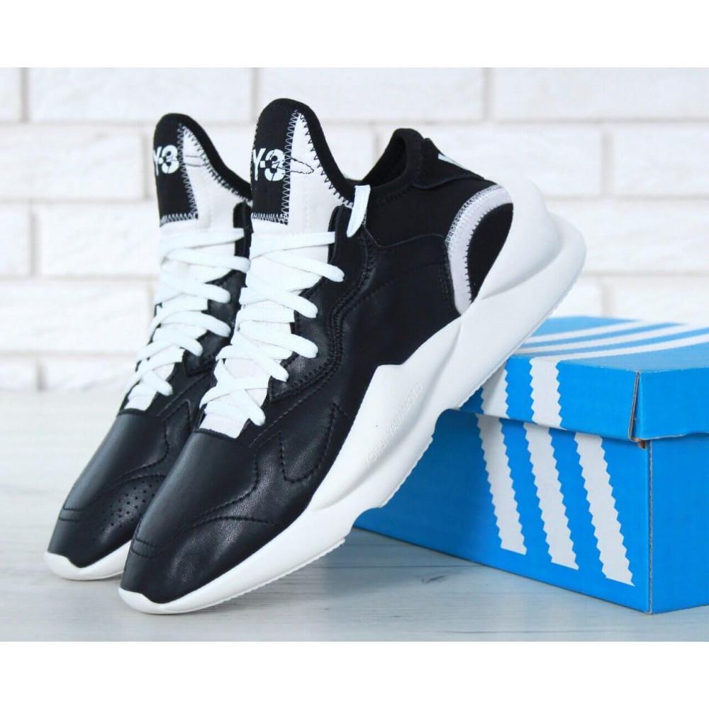 Демисезонные кроссовки мужские   - Кроссовки Adidas Y-3 Kaiwa черно-белые