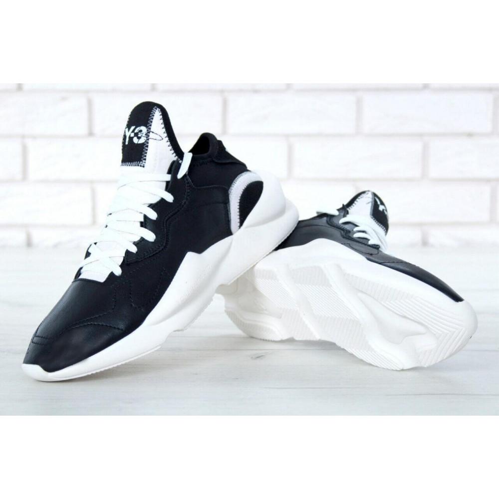 Демисезонные кроссовки мужские   - Кроссовки Adidas Y-3 Kaiwa черно-белые 6