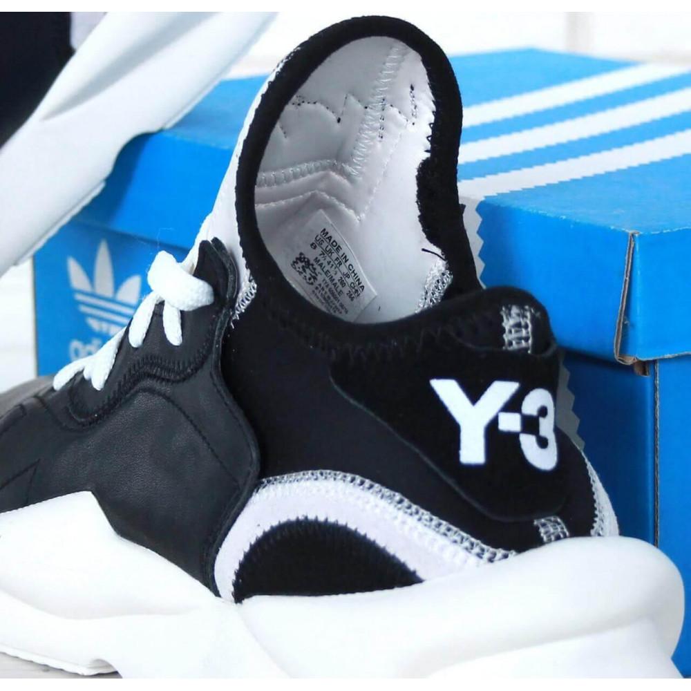 Демисезонные кроссовки мужские   - Кроссовки Adidas Y-3 Kaiwa черно-белые 7