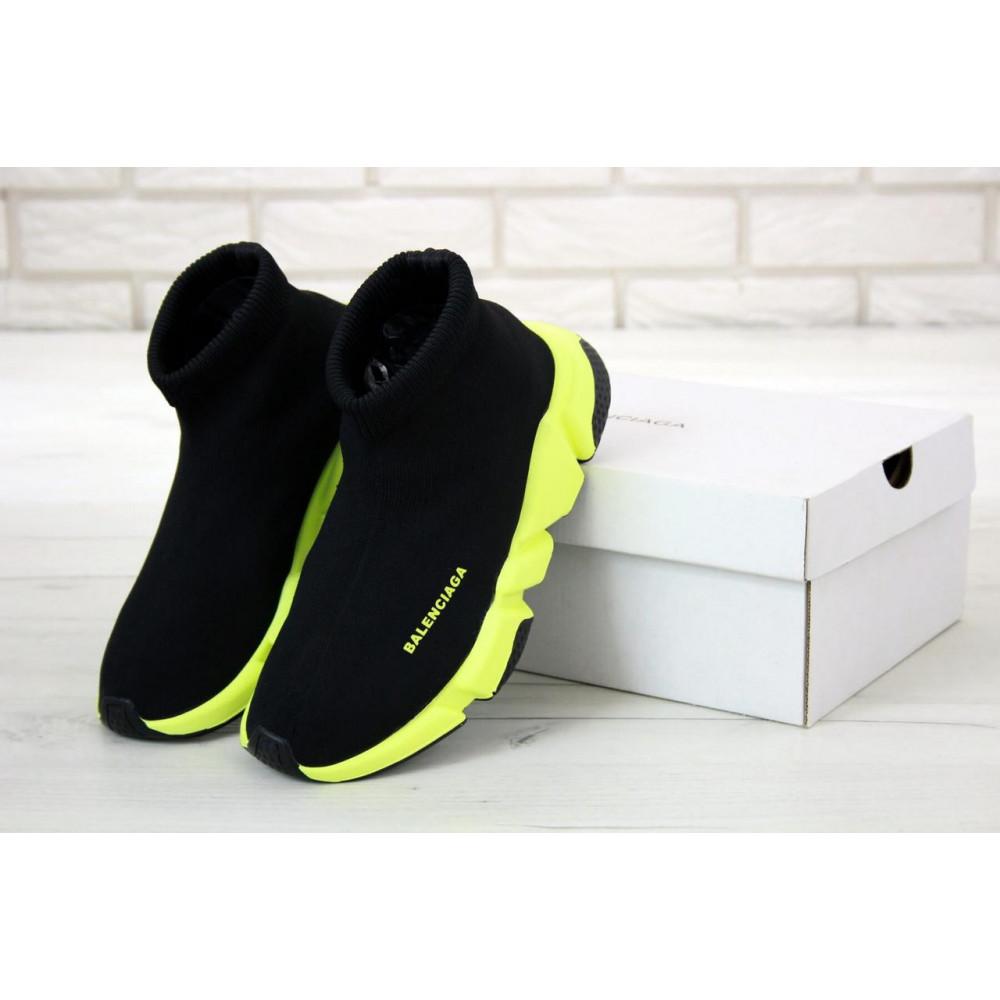 Демисезонные кроссовки мужские   - Кроссовки Баленсиага Спид черно-желтого цвета