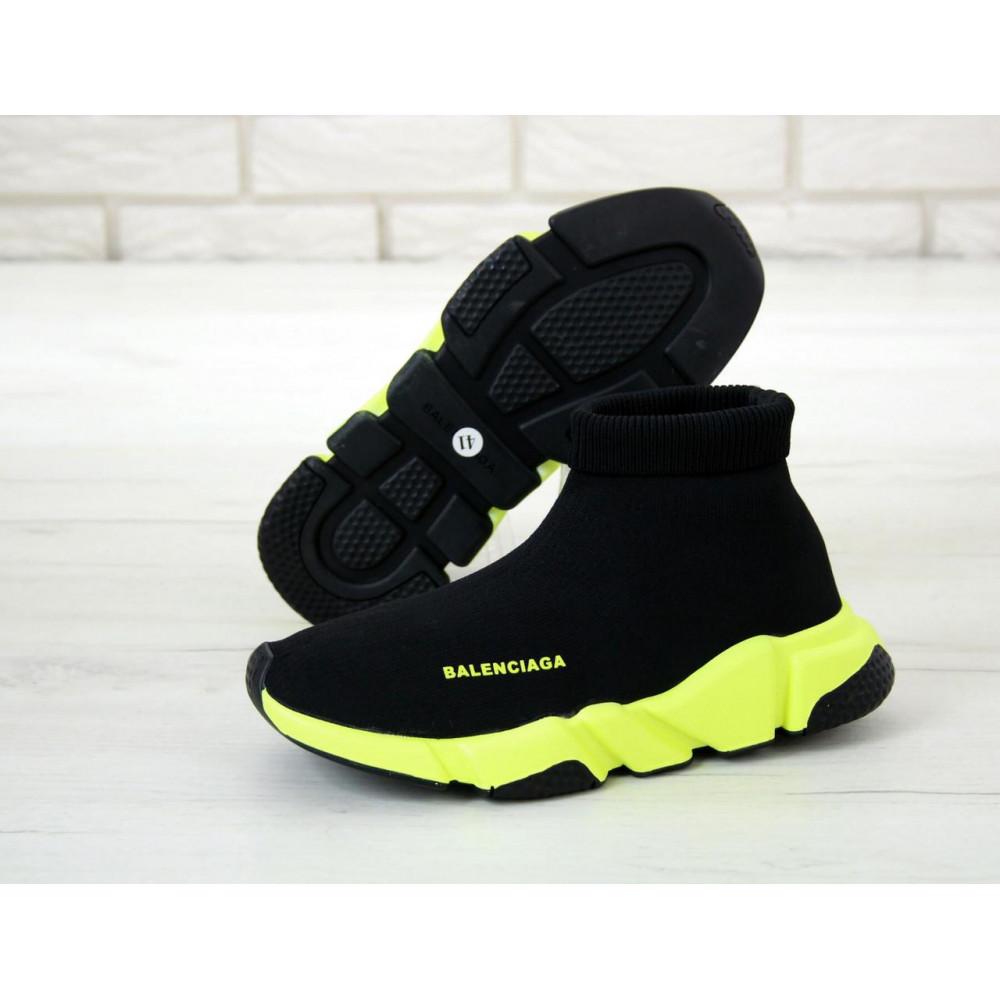 Демисезонные кроссовки мужские   - Кроссовки Баленсиага Спид черно-желтого цвета 2
