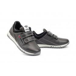 Детские кроссовки кожаные весна/осень серые-черные CrosSAV 39L