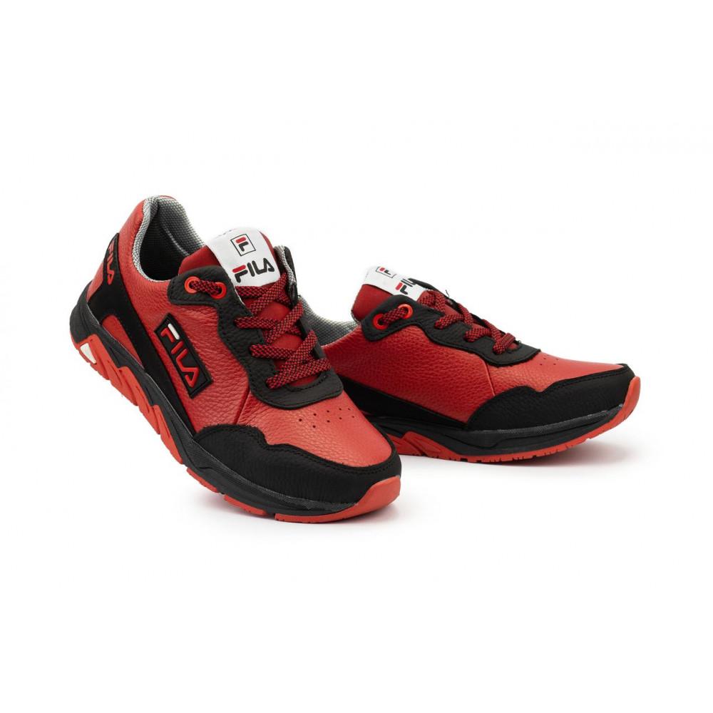 Детские кроссовки кожаные - Подростковые кроссовки кожаные весна/осень красные-черные CrosSAV 05
