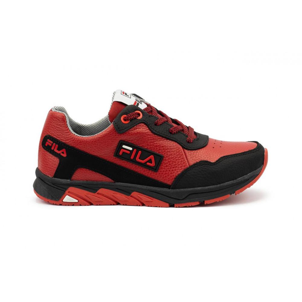 Детские кроссовки кожаные - Подростковые кроссовки кожаные весна/осень красные-черные CrosSAV 05 7