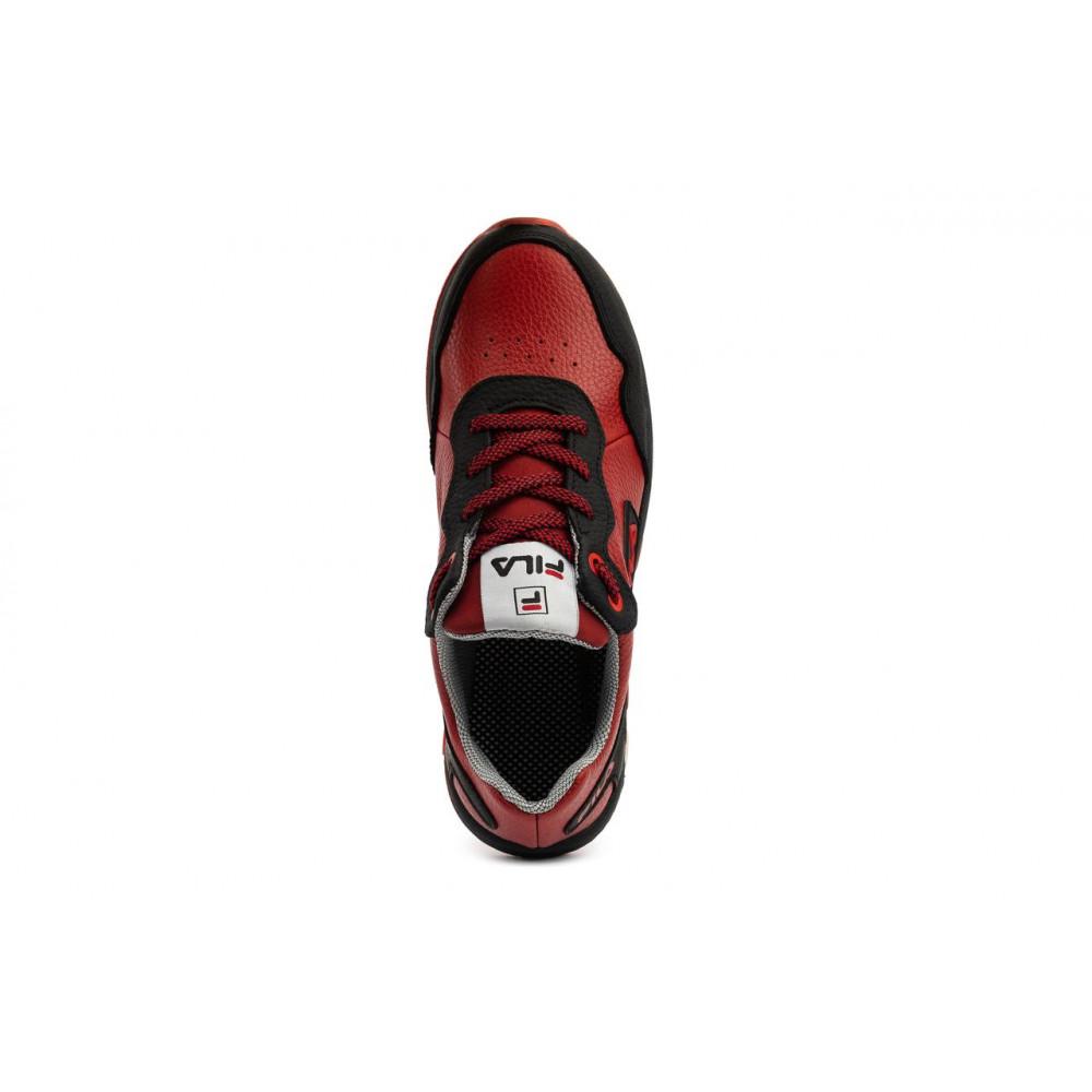Детские кроссовки кожаные - Подростковые кроссовки кожаные весна/осень красные-черные CrosSAV 05 5