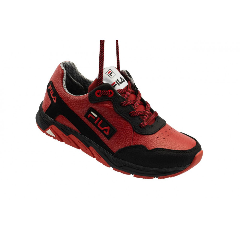 Детские кроссовки кожаные - Подростковые кроссовки кожаные весна/осень красные-черные CrosSAV 05 4