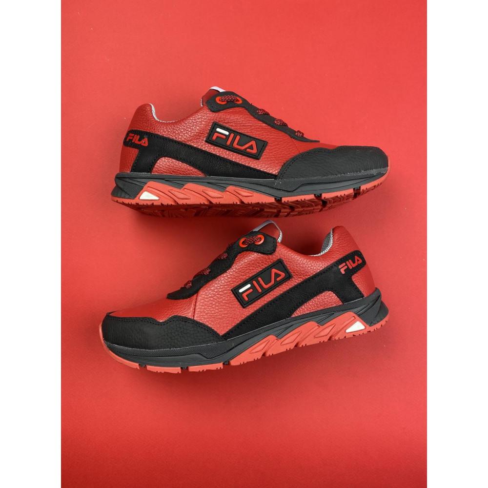 Детские кроссовки кожаные - Подростковые кроссовки кожаные весна/осень красные-черные CrosSAV 05 3