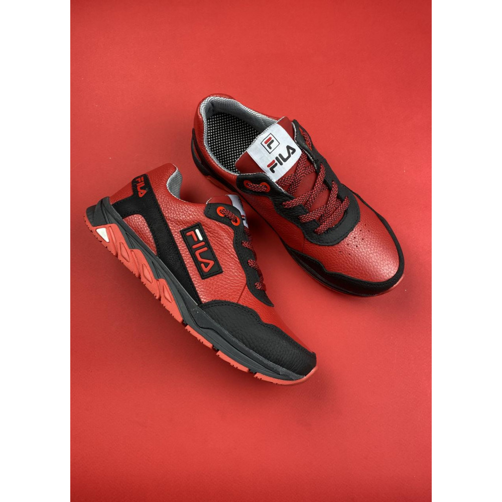 Детские кроссовки кожаные - Подростковые кроссовки кожаные весна/осень красные-черные CrosSAV 05 2