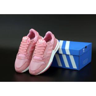 Женские кроссовки Adidas ZX-500 в розовом цвете