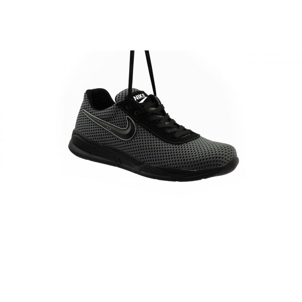 Классические кроссовки мужские - Мужские кроссовки текстильные летние серые-черные Lions Nik 9