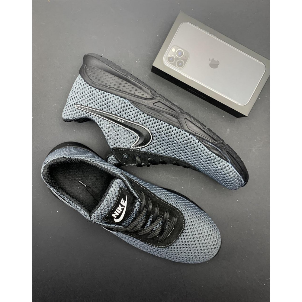 Классические кроссовки мужские - Мужские кроссовки текстильные летние серые-черные Lions Nik 1