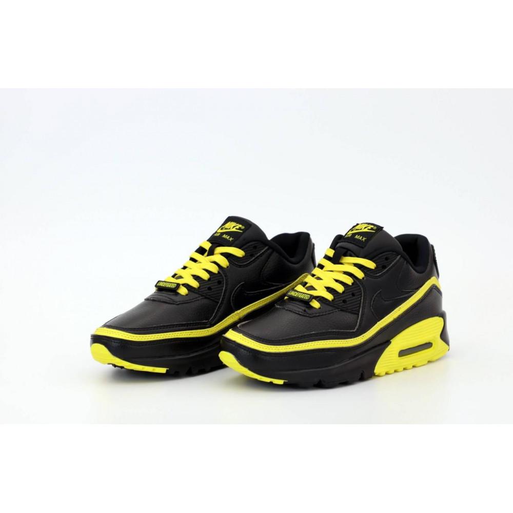 Демисезонные кроссовки мужские   - Кроссовки Air Max 90 Undefeated Optic Yellow черно-желтые 2