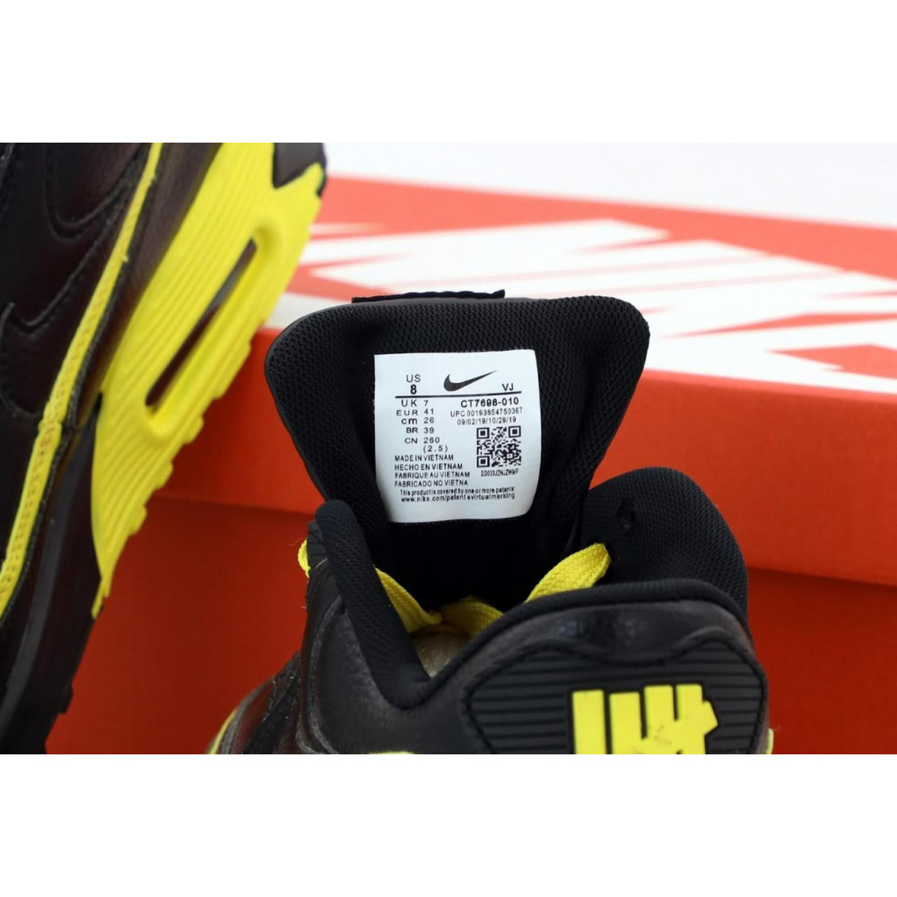 Демисезонные кроссовки мужские   - Кроссовки Air Max 90 Undefeated Optic Yellow черно-желтые 5