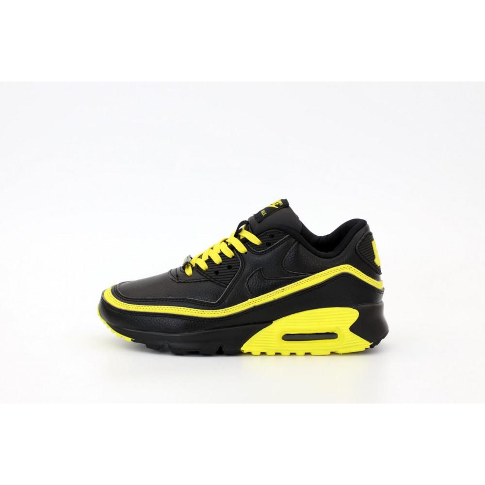 Демисезонные кроссовки мужские   - Кроссовки Air Max 90 Undefeated Optic Yellow черно-желтые 1