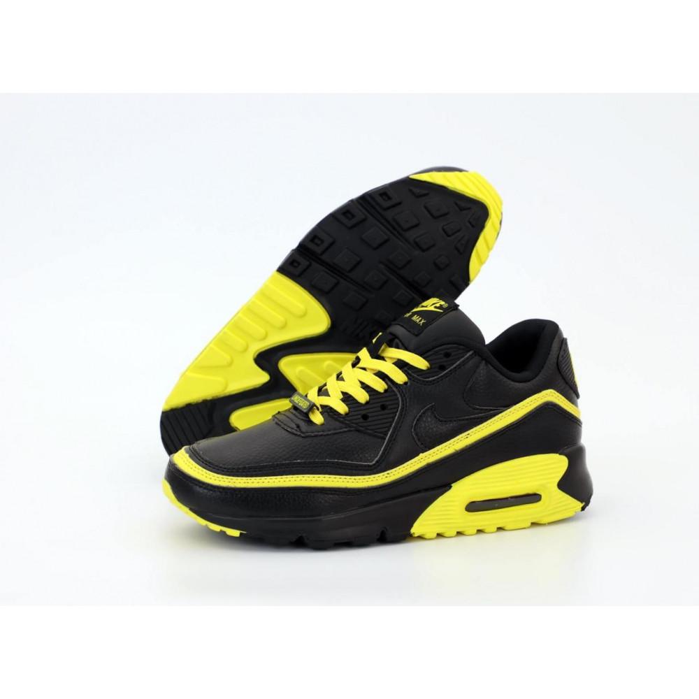 Демисезонные кроссовки мужские   - Кроссовки Air Max 90 Undefeated Optic Yellow черно-желтые 3