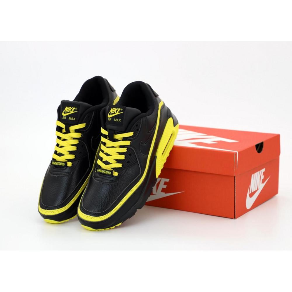 Демисезонные кроссовки мужские   - Кроссовки Air Max 90 Undefeated Optic Yellow черно-желтые