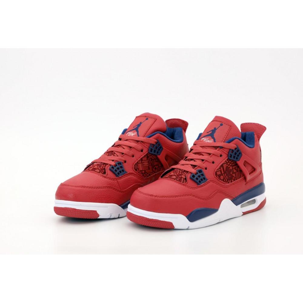 Демисезонные кроссовки мужские   - Баскетбольные кроссовки Air Jordan 4 Retro Flight Red 3