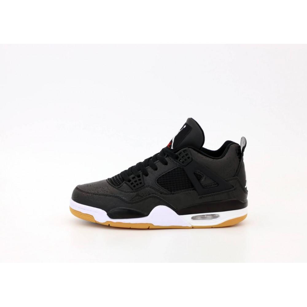 Демисезонные кроссовки мужские   - Баскетбольные кроссовки Air Jordan 4 Retro Flight Black Gum 1