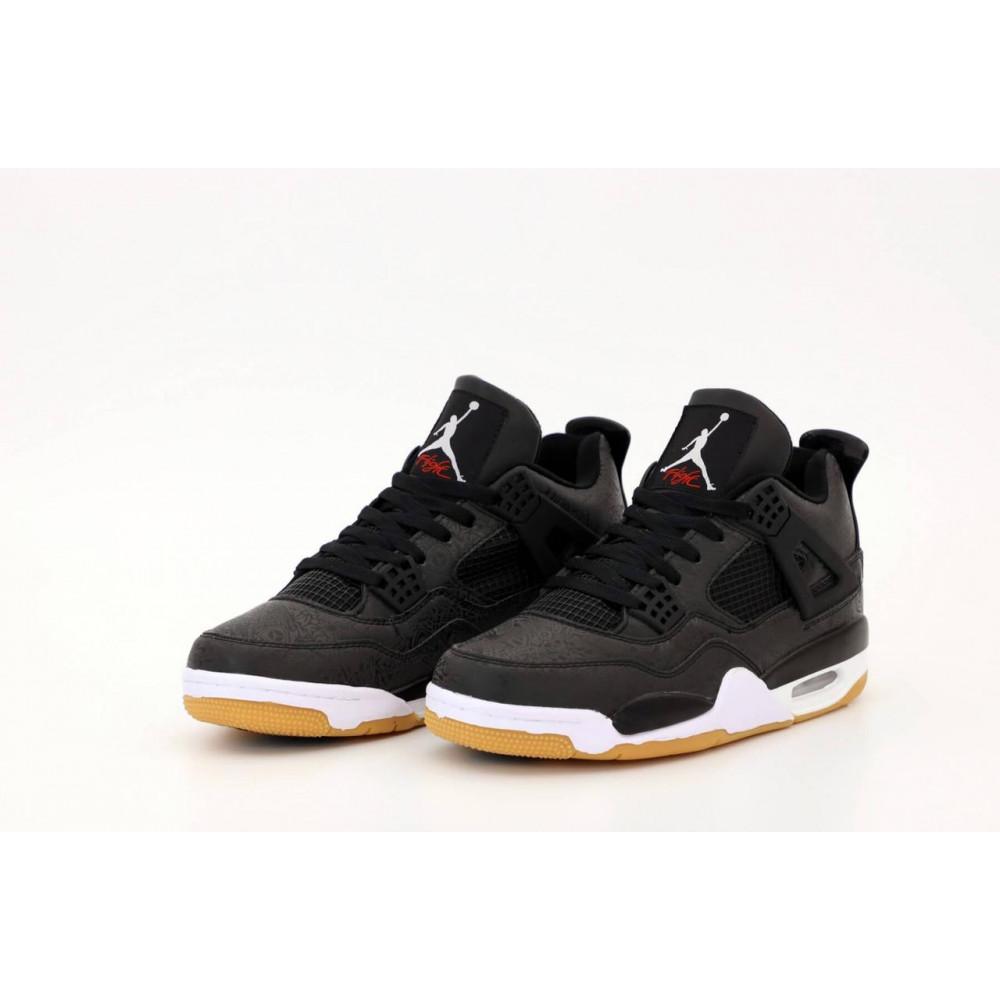 Демисезонные кроссовки мужские   - Баскетбольные кроссовки Air Jordan 4 Retro Flight Black Gum 3
