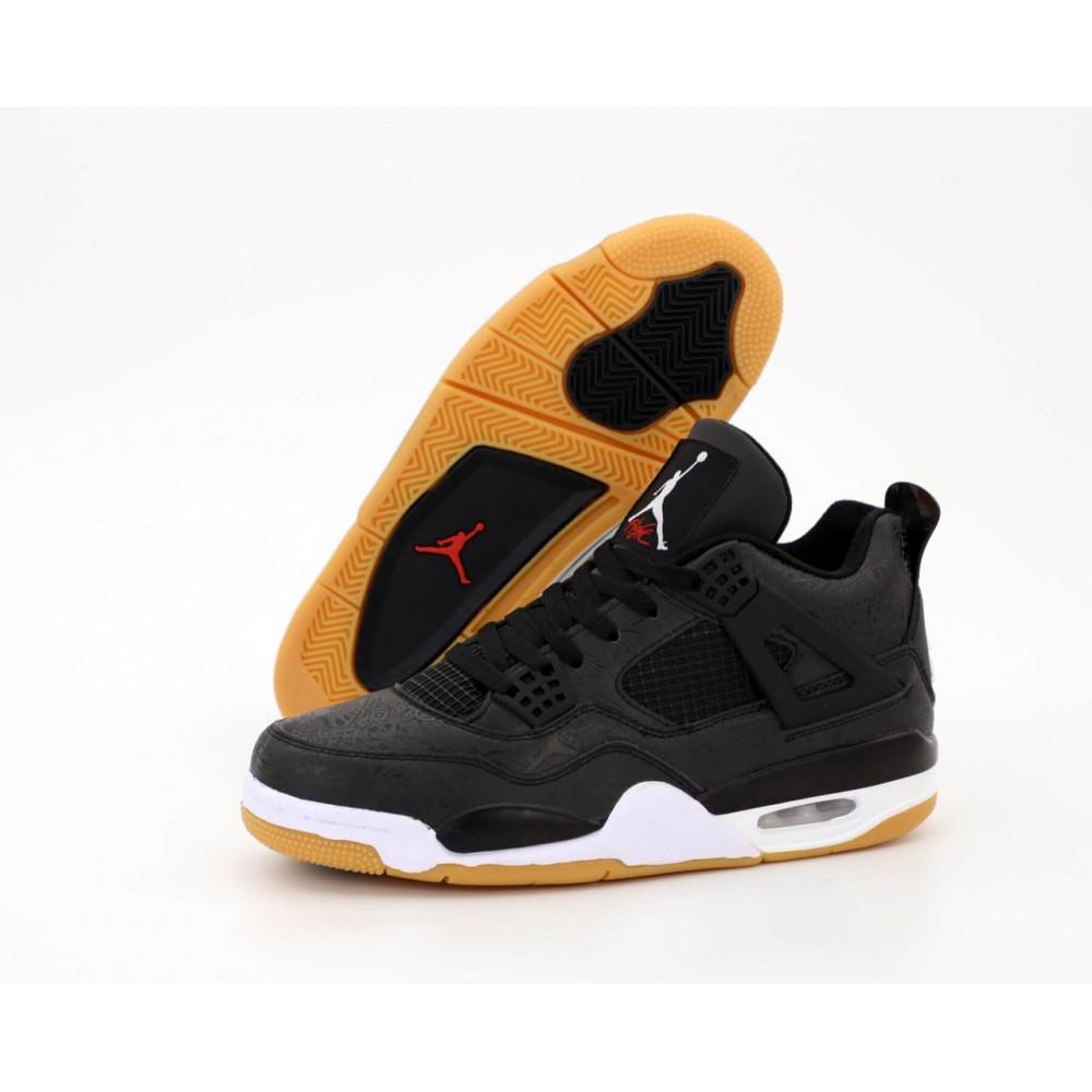 Демисезонные кроссовки мужские   - Баскетбольные кроссовки Air Jordan 4 Retro Flight Black Gum 2