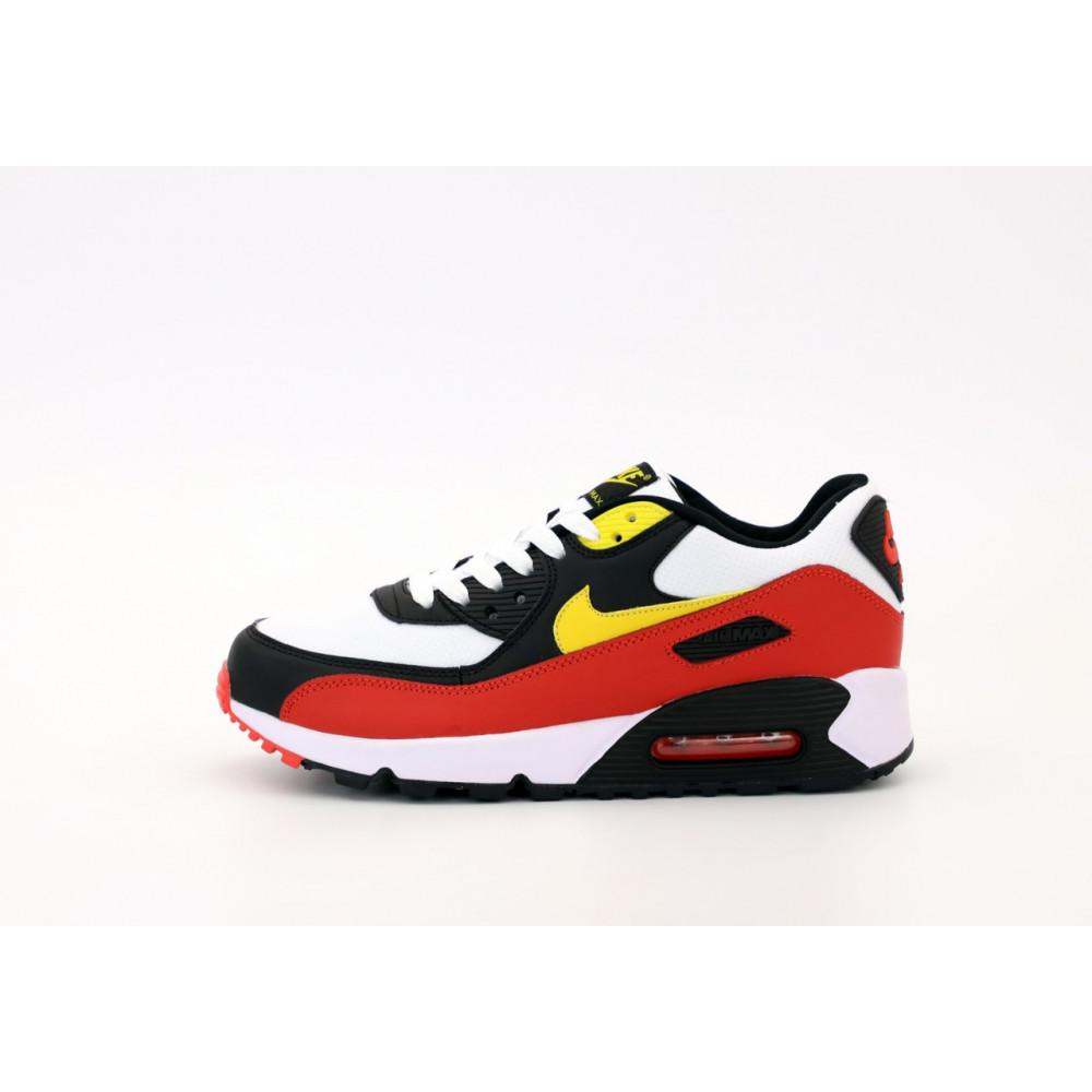 Классические кроссовки мужские - Кроссовки Nike Air Max 90 Black White Red Yellow 1