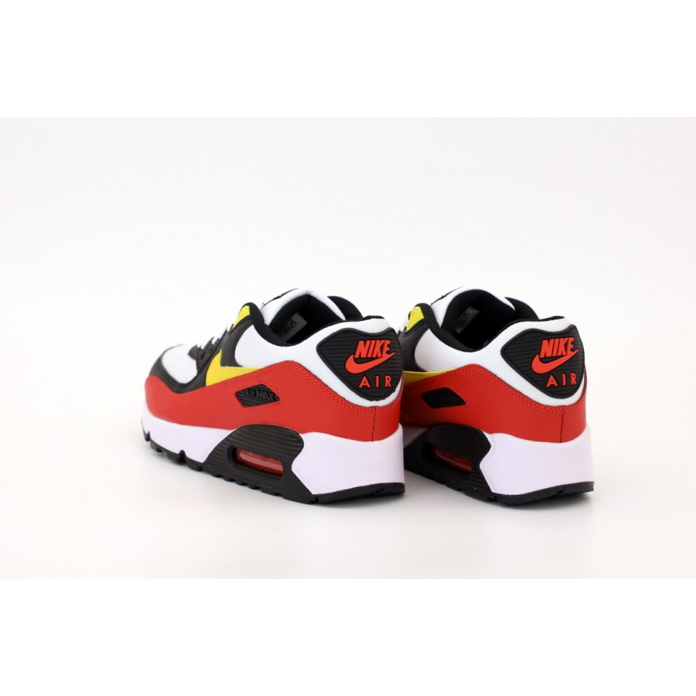 Классические кроссовки мужские - Кроссовки Nike Air Max 90 Black White Red Yellow 2