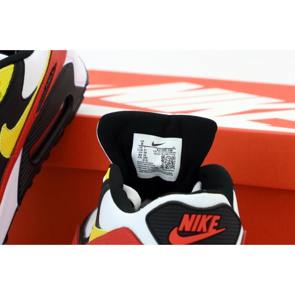Классические кроссовки мужские - Кроссовки Nike Air Max 90 Black White Red Yellow 3
