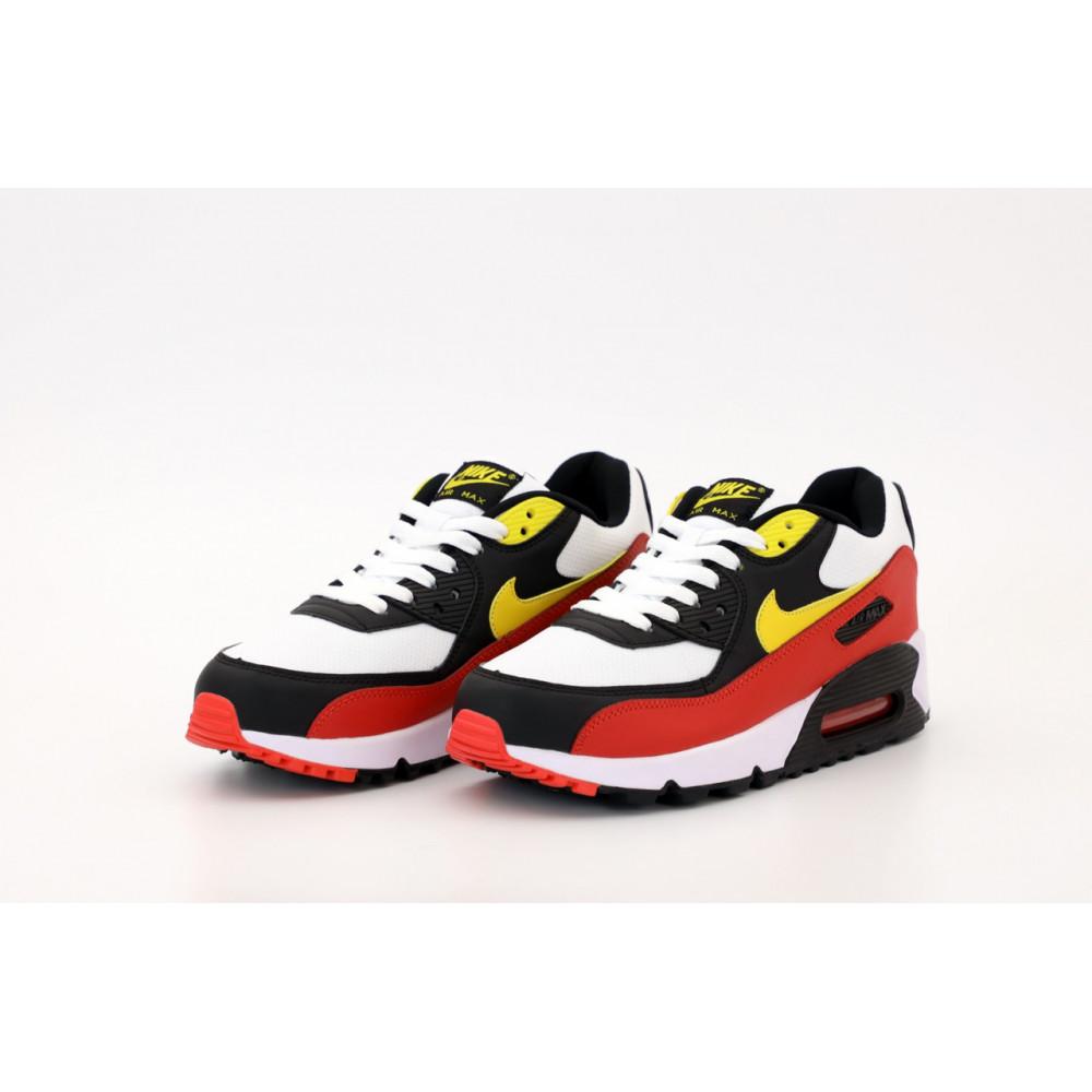 Классические кроссовки мужские - Кроссовки Nike Air Max 90 Black White Red Yellow 4